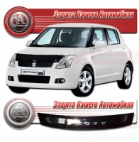 Дефлектор капота SUZUKI SWIFT III (Сузуки-Свифт 3) 2004-2010 СА-ПЛАСТИК серебро